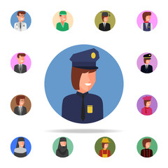 colored avatar of police woman icon. Avatar icons universal set for web and mobile