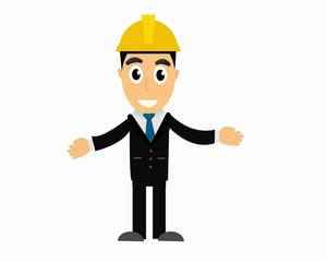 Engineer man construction engineer cartoon vector.