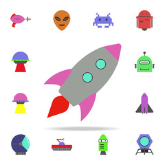 rocket colored icon. Colored Space icons universal set for web and mobile