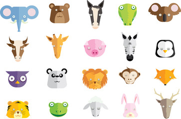 Cute Cartoon Animal Head Vector set