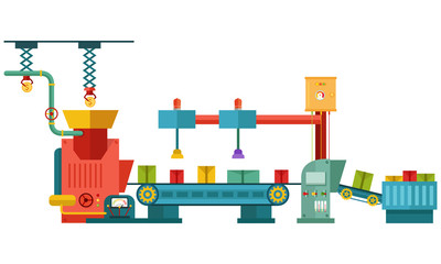 Vector illustration of factory technology in machine