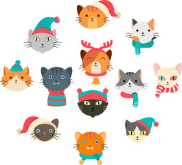 Vector illustration of collection cute cat wearing many  accessory in the head