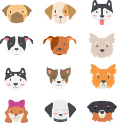 Vector illustration of collection cute dog head with many face