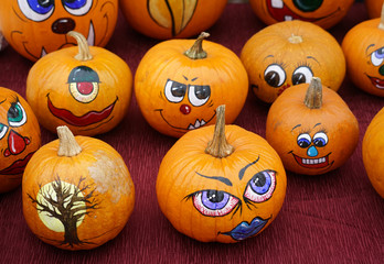 group of painted pumpkin for Halloween in autumn