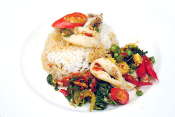 Basil Fried Rice with Squid