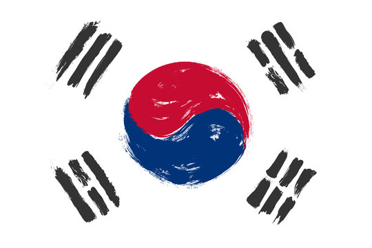 South korea flag with grunge watercolor painting design . Vector illustration