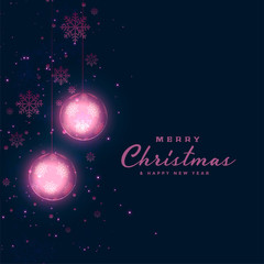 christmas festival dark background with glowing balls and snowflakes decoration