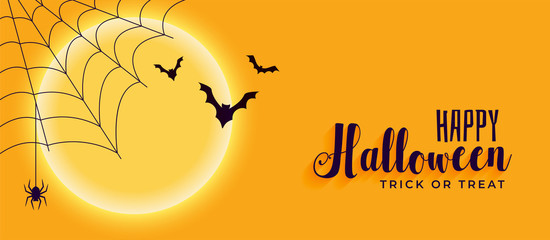 happy halloween banner with spider web and flying bats