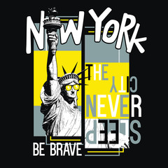 Hand drawn New York vector design for t shirt printing