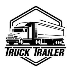 Truck trailer logo illustration on white background