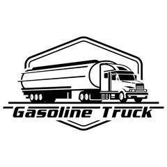 Vector illustration of gasoline truck logo on white background