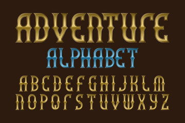 Adventure alphabet. Stylized vintage golden letters font. Isolated english alphabet.