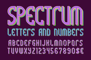 Spectrum colored letters and numbers with currency symbols. Iridescent vibrant font.