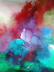 Watercolor abstract bright colorful textural background handmade . Painting of sky and clouds during sunset . Modern cosmic pattern . Shine