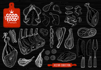 Good food premium market, logo design butcher shop, meat vector collection. Butcher house products, food shop. axe, cutting board, knife, fork, rolling pin. Hand drawn vector illustration.