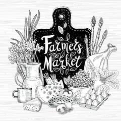 Farmers market logo design healthy food shop. Vegetables, fruits, meat, milk, eggs, bread. Organic food set. Good nutrition. Hand drawn vector illustration.