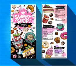 Sweet shop cafe menu template. Colorful logo design label, emblem. Lettering, sweets, pastry, croissant, candy, cookie colorful, splash, coffee, doodle, yummy. Hand drawn vector illustration