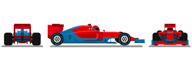 Fotobehang F1 Red Blue Racing Car Vector