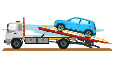Illustration of Tow truck with car