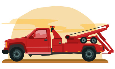 Cartoon of Red tow truck