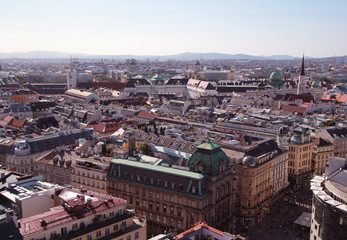 View Over Vienna city from St Stephan's Cathedral