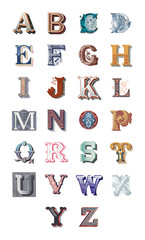The Alphabet set of capital vintage letters