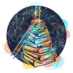 Ladders on stack of books tattoo watercolor splashes style. Symbol of education, science, knowledge, studying, dreams t-shirt design