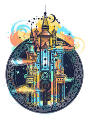 Medieval castle tattoo watercolor splashes style. Symbol of the fairy tale, dream, magic. Medieval castle t-shirt design
