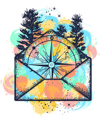 Compass in open envelope tattoo watercolor splashes style. Symbol of tourism, adventure, travel t-shirt design
