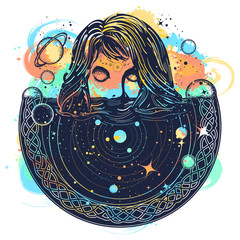 Woman in space tattoo art watercolor splashes style. Surreal girl sinks in universe. Symbol of magic, esoterics, astrology. Goodnes woman and galaxy t-shirt design