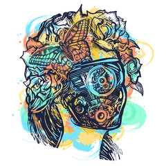 Robot woman tattoo and t-shirt design watercolor splashes style. Symbol of artificial intelligence, future, girl cyborg. Cyberpunk art