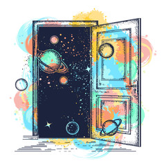 Open door in universe tattoo. Symbol of imagination, creative idea, motivation watercolor splashes style