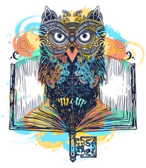 Owl and open book tattoo and t-shirt design watercolor splashes style. Symbol of education, literature, poetry, wisdom, reading. Open book, vintage key and magic owl art