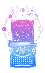 Typewriter tattoo. Symbol of imagination, literature, philosophy, psychology, imagination surreal t-shirt design