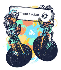 Robot hands tattoo and t-shirt design watercolor splashes style. Robot arm, captcha, symbol of artificial intelligence, neural network
