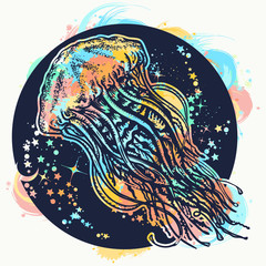 Jellyfish watercolor splashes style tattoo and t-shirt design. Symbol of wandering, deep sea, travel, meditation