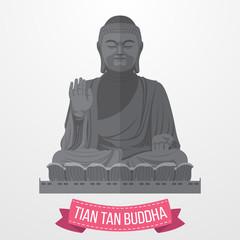 Tian Tan Buddha icon on white background