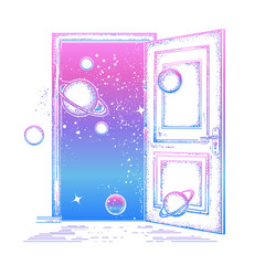 Open door in universe tattoo. Symbol of imagination, creative idea, motivation, new life