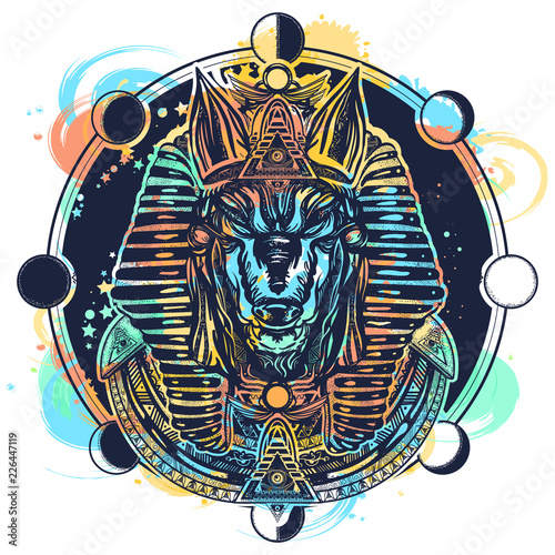 Anubis and moon phase tattoo and t-shirt design watercolor