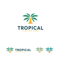 Tropical logo designs vector, Palm Tree logo symbol