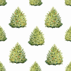 Watercolor fir tree christmas vector pattern