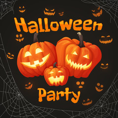 Halloween party poster with three smiling pumpkins and glowing faces on the dark background with spider webs.