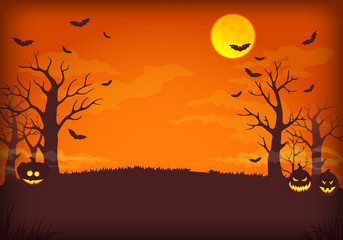 Spooky orange and purple night background with full moon, clouds, bats, bare trees and pumpkins with glowing faces.