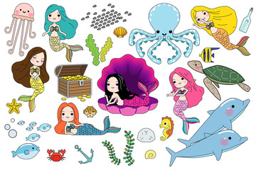 Cute little mermaid with sea animals. Under the sea in cartoon style, Vector illustration.
