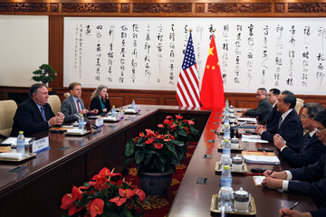 U.S. Secretary of State Mike Pompeo meets with Chinese Foreign Minister Wang Yi at the Diaoyutai State Guesthouse in Beijing