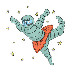 Cartoon astronaut dancing in the outdoor Cosmos in a tutu. Vector illustration.