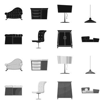 Isolated object of furniture and apartment sign. Set of furniture and home vector icon for stock.