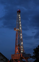 oil drilling rig twilight time