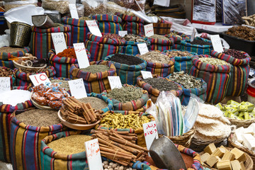 Spice stall at the market in the old city, Acre (Akko), Israel.