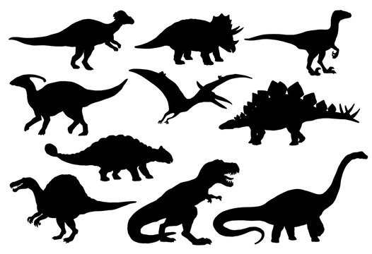 Dinosaurs and T-rex monster reptiles, vector